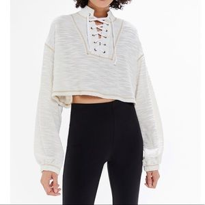 Urban outfitters tague lace up cropped sweater